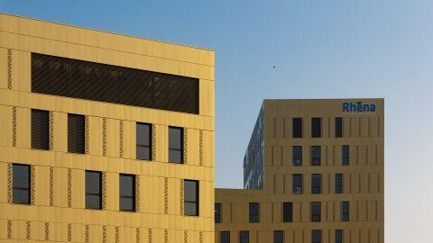 Soleil sur les bâtiments de la clinique Rhéna